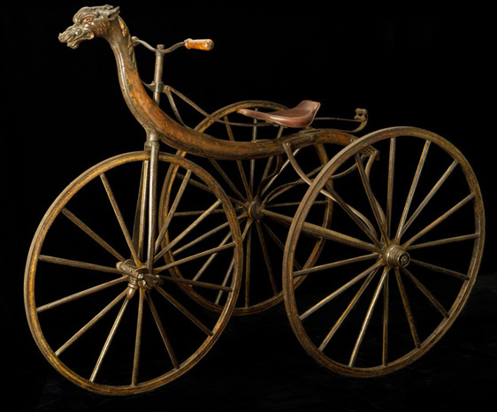Velocipede Tricycle, 1867-8<br> Michaux & Cie., Paris<br> France<p>  This spectacular velocipede, manufactured by the most important maker of velocipedes, was featured at the first bicycle history exhibition: the Exposition Rétrospective du Cycle at the Grand Palais in Paris, 1907.