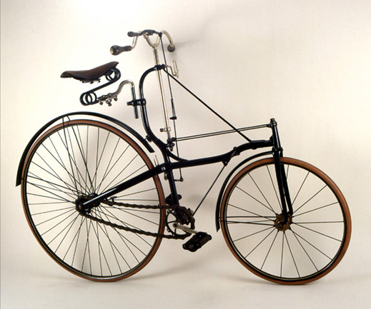 BSA Safety, 1885<br> Birmingham Small Arms Co.<br> England<p>  One of the earliest manufactured rear wheel chain-drive bicycles.