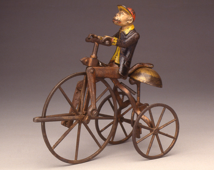 Monkey On Bell Tricycle, 1896<br> J. & E. Stevens Co., Cromwell, Connecticut<br> Painted cast iron<br> United States