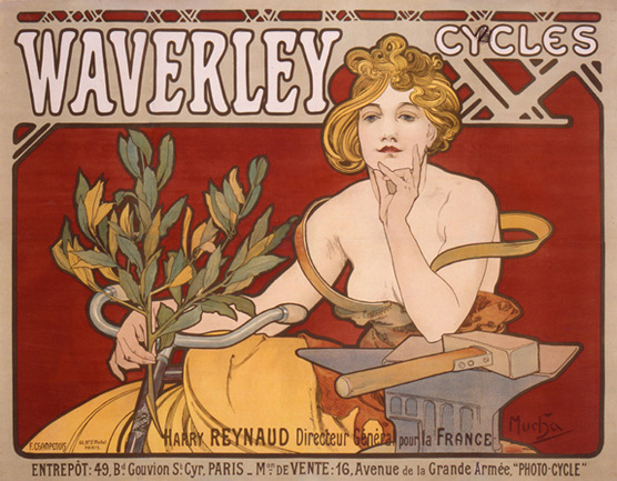 Waverley Cycles, 1898<br> Alphonse Mucha<br> Lithograph<br> France<p> Mucha's prominence was launched<br> with his posters of Sarah Bernhardt.