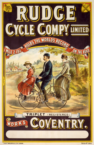 Rudge Cycle Co., ca. 1890<br> Anonymous<br> Lithograph<br> England